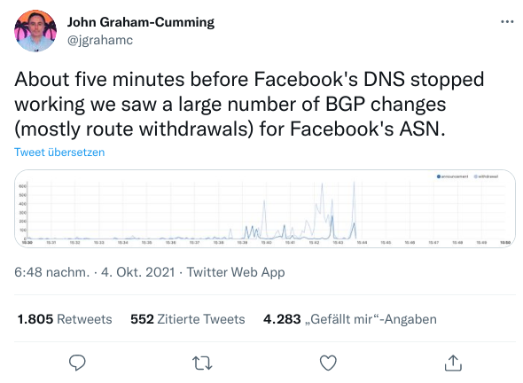 John Graham-Cummings Tweet zu BGP-Änderungen von Facebooks ASN